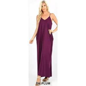 LAST ONE!! Dark Plum Maxi Dress with Pockets
